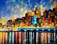Leonid Afremov - Glowing Harbor