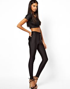 Image 1 of ASOS High Waist Disco Trousers in High Shine