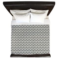 Cream Grey Hearts Pattern King Duvet on CafePress.com