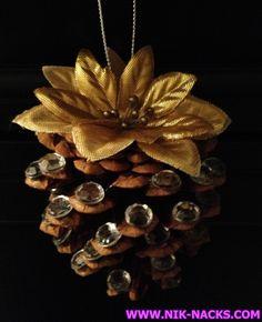 GLITZ PINECONE.    Silver and gold pine cone ornament with diamond accents.