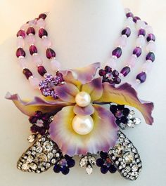 Chris Crouch's Moans Couture Vrba Protege Porcelain Art Glass Lily Necklace | eBay