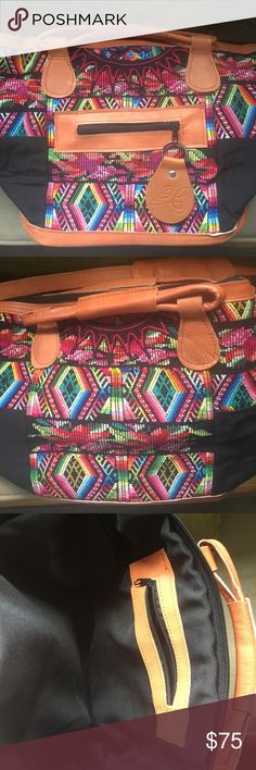 Humble Hilo bag new / never used Gorgeous huipil and leather bag.  Medium sized Bags Crossbody Bags