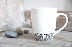 For the Kitchen - mug somewhat angular handpainted coffee or tea by RoomforEmptiness, Black and White