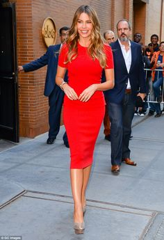 Lucky lady: The flowers were likely for Joe's fiancee Sofia Vergara (pictured leaving ABC ...