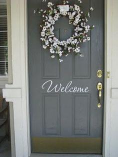 Vinyl welcome sign for front door & Welcome Sign Vinyl Front Door Decal with bird and branch   Vinyl ... Pezcame.Com