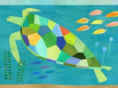 Sea Turtle Swim Canvas Print 14 x 10 by twoems on Etsy, $59.00