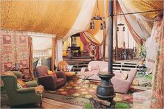 Bohemian style glamping tent.....could turn a room into this?