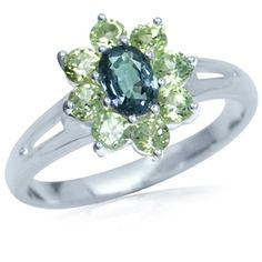 Color Change Alexandrite &Peridot 925 Sterling Silver Flower Cluster Ring - Fashion Jewelry