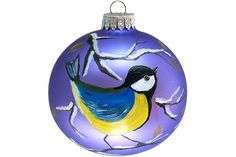 Hand Painted Christmas Ornament Glass Ball Blue Tit Bird Hand Painted Ornaments Christmas Ornaments Painted Glass Custom Personalized Purple