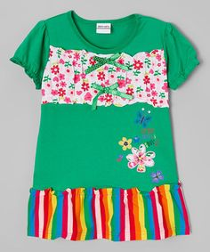 Another great find on #zulily! Green Ruffle Shift Dress - Infant, Toddler & Girls #zulilyfinds