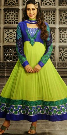 Karishma in parrot green and blue long length full sleeves pure georgette anarkali suit with chiffon dupatta and shantoon bottom