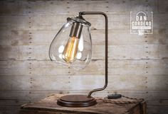 Glass Shade Edison Bulb Table Lamp | Bronze | Desk Lamp | Edison Light Bulb | Table Lamp | Bed Light | Night Stand by DanCordero on Etsy https://www.etsy.com/listing/275028916/glass-shade-edison-bulb-table-lamp
