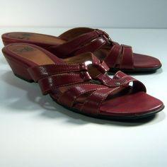 Sofft Womens Sandals 8.5M Dark Red Silver Hardware Leather Slides Wedge Heels  #Sofft #Slides