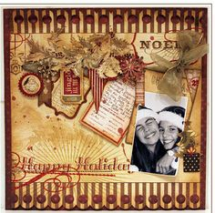 Vintage christmas scrapbook layout. USE WITH BAUMAN KIDS  IN CHAIRS IN FRONT OF TREE XMAS PAGE.
