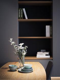 Caser les livres par Z-Axis Design Gray Interior, Interior Design Living Room, Modern Interior, Interior Styling, Interior Architecture, Interior Decorating, Interior And Exterior, Simple House Design, Built In Furniture