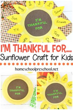 Inspire Preschoolers To Express Gratitude This Holiday Season With This Sunflower Paper Plate Craft. Every Petal Represents Something They're Thankful For. Via Homeschlprek Bible Crafts For Kids, Thanksgiving Crafts For Kids, Fun Crafts For Kids, Toddler Crafts, Thanksgiving Quotes, Craft Kids, Thanksgiving Activities, Craft Work, Fall Crafts