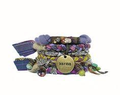 Karma Bracelet Stack Hippie Style Bangles Vegan Gypsy by peggytrue
