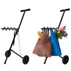 Im one of those people who is determined to only take ONE trip from my car to my condo lol this would be awesome!    HOOK & GO SHOPPING CART WITH CHICO BAGS | Hook, Go, Shopper, Carts, Grocery, Groceries, Store, City, Urban | UncommonGoods