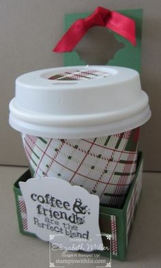 mini coffe cup gift package idea using the stampin up perfect blend stamp set