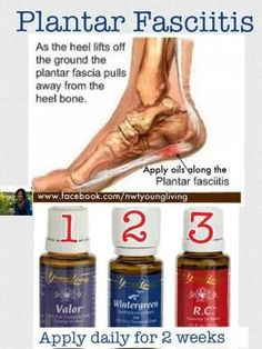 Got Plantar Fasciitis? Try applying Young Living Essential Oils Valor, Wintergreen, and R. Essential oils help relieve the pain and inflammation. Doterra Essential Oils, Natural Essential Oils, Essential Oil Blends, Yl Oils, Facitis Plantar, Plantar Fasciitis, Young Living Oils, Young Living Essential Oils, Healing Oils