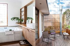 Postales de una casa modernista  En la terraza con pisos tipo deck y división de varillas de madera, se ubicaon do reposeras bicolor de cashmilon trenzado, otro de los diseños de Perlmutter para DAF Casa Foto:Magalí Saberian