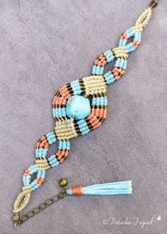 Boho bohemian chic macrame bracelet raw coral by NatachaFayard