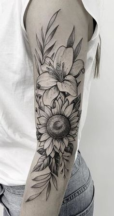 25 Sunflower Tattoos to Get Inspired - Photos and Tattoos - 25 Sunflower Tattoo. - 25 Sunflower Tattoos to Get Inspired – Photos and Tattoos – 25 Sunflower Tattoo… - Lily Tattoo Sleeve, Sunflower Tattoo Sleeve, Sunflower Tattoos, Sunflower Tattoo Design, Floral Tattoo Sleeves, Lily Tattoo Design, Flower Tattoo Designs, Lilly Flower Tattoo, Hawaiian Flower Tattoos