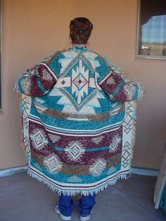 My 1st try at making a Blanket Throw  Coat _ Just 3 cuts and seams.