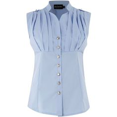 Sodamix Front pleat shirt (15 AUD) ❤ liked on Polyvore featuring tops, shirts, blue top, blue shirt, shirt top, polyester shirt and sodamix