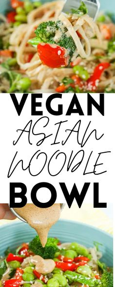 This Vegan Asian Noodle Bowl is a super delicious meal your whole family will love! It only takes 20 minutes to make. Vegan!