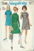 An original ca. 1967 Simplicity Pattern 7246.  Juniors and Misses' Dress in Two Lengths: The A-line dress with raglan sleeves has slightly lowered round neckline, back zipper and optional purchased belt. V. 1 & 2 have bias roll collar. V. 1 & 3 are regular-length. V. 1 has about wrist-length sleeves. V. 2 & 3 have short sleeves. V. 2 is above knee-length. V. 3 is collarless.