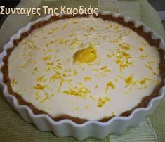 Yogurt Pie, Lemon Yogurt, Group Meals, Greek Recipes, Bon Appetit, Easy Crafts, Cheesecake, Good Food, Pudding