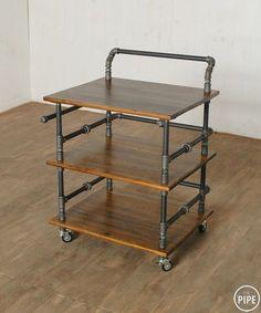 Идея 740.Столик-тележка из водопроводных труб и массива. ЦЕНА *18 000 руб…