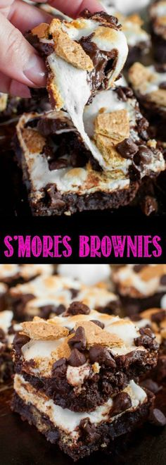 S'mores Brownies Recipe - a fudgy, ooey gooey delight! No need for a campfire to enjoy this fun twist on a summer favorite. Now you can eat s'mores all year long! Best Dessert Recipes, Easy Desserts, Sweet Recipes, Delicious Desserts, Brownie Recipes, Cookie Recipes, Dessert Bars, Chocolate Desserts, Sweet Treats