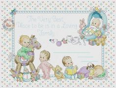The Very Best Place Birth Record Baby Cross Stitch Patterns, Cross Stitch Baby, Cross Stitch Designs, Baby Patterns, Doll Patterns, Cross Stitching, Cross Stitch Embroidery, Baby Design, Art For Kids