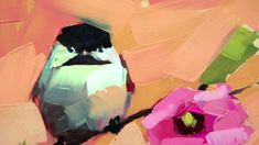 Making Chickadee and Rose of Sharon Painting
