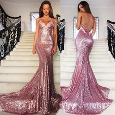 Rose Gold Sequin Mermaid Prom Dresses Long Spaghetti Strap Sexy Backless Evening Gowns V Neck Formal Party Dress 2016 Vestido De Festa