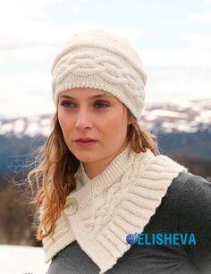 Ажурный комплект, состоящий из шапки и коротенького шарфика вязаный спицами | Блог elisheva.ru