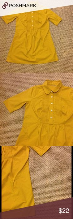 Eshakti Pintuck Short Sleeve Shirtdress size Large Eshakti mustard bright yellow pintuck bib front shirtdress. There are white button accents on the chest and arm cuffs as well. Size large with some stretch to it. Measurements: bust 19 inches, length 34 inches, waist 19 inches, sleeve length 12.5 inches, arm cuff 5.25 inches. I love this dress it's  so cute! Only selling because the arm cuff is too tight eshakti Dresses Mini