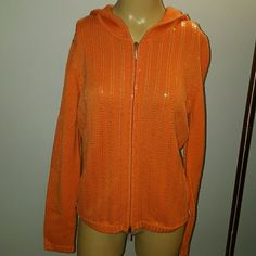 Maschagoni Sweater with hood 100% wool bright orange sweater with hood, adorned lightely with sequin, rhinestone on the zipper pull. Perfect for spring with a pair of jeans. Rarely worn.excellent condition Maschagoni Sweaters