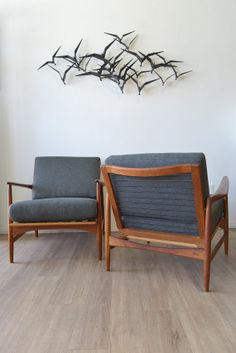 IB Kofod Larsen for Selig Lounge Chairs  A Pair by TheModernVault, $3995.00