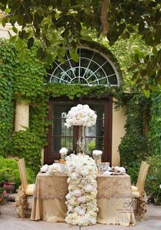 ~~ Opulent, luxurious floral table runner created by Karen Tran Just In Case, Just For You, Cascading Flowers, Burlap Flowers, Paper Flowers, Romantic Table, Decoration Table, Wedding Trends, Wedding Ideas