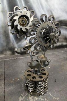 welded art | Miller - Welding Projects - Idea Gallery - turbochargerd flowers