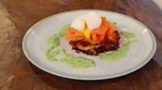 Gino's potato rosti, poached eggs and smoked salmon