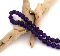 10 Perles violettes 8mm pierre naturelle ronde PV2016015 : Perles pierres Fines…