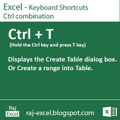 Raj Excel: Excel Shortcut Keys: Using Ctrl + T (Create a Table) Computer Lessons, Computer Basics, Computer Help, Computer Programming, Computer Tips, Technology Lessons, Medical Technology, Energy Technology, Technology Gadgets