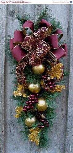 Christmas Swag, Holiday Wreath, Elegant Christmas Décor, Designer Wreath, Victorian Swag.  via Etsy.