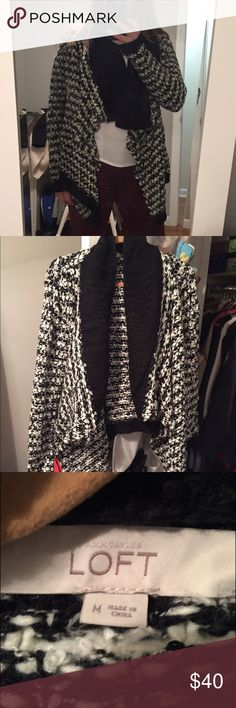 Thick black and white waterfall front loft sweater Super thick barely worn black and white loft waterfall front sweater!! Amazing condition and so warm! LOFT Sweaters Shrugs & Ponchos