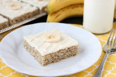 Use up those ripe bananas for this super moist and fruity banana cake topped with the BEST cream cheese frosting ever!