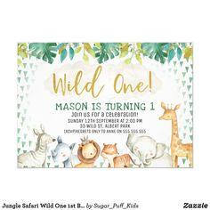 Jungle Safari Wild One 1st Birthday Invitation Safari Party, Jungle Safari, Safari Animals, Kids Animals, Jungle Party, Kids Animal Party, Wild One Birthday Invitations, Invites, Animal Birthday